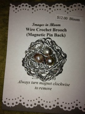 Little nested brooch... freshwater pearls, silvertoned aluminum with a magnetic pin back